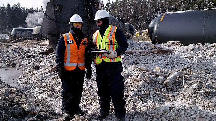 Image of Two TSB investigators on site