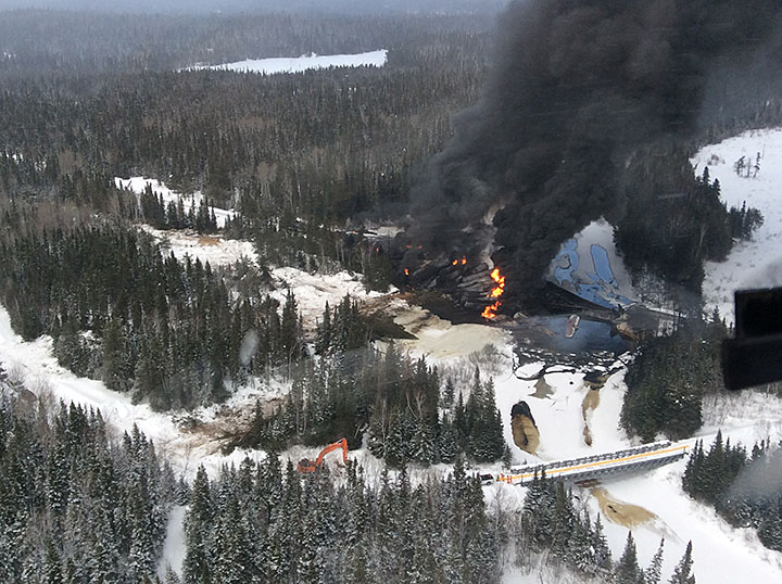 Aerial westward view of derailment site (March 7, 2015)