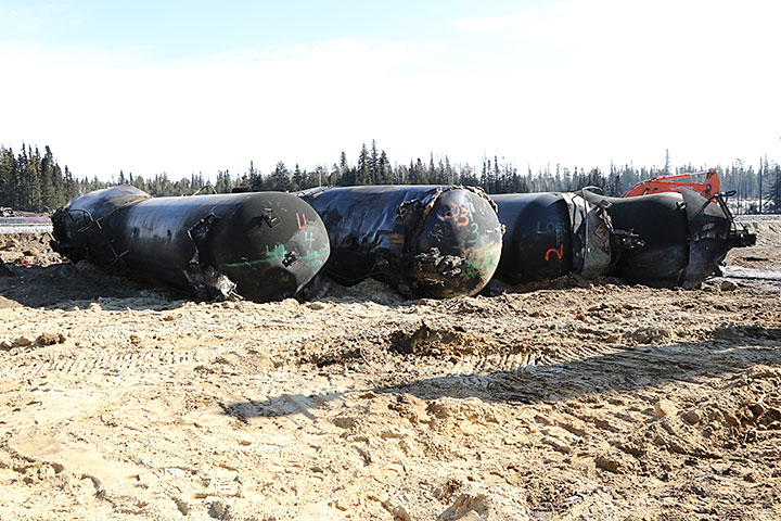 Image of tank cars recovered for further examination
