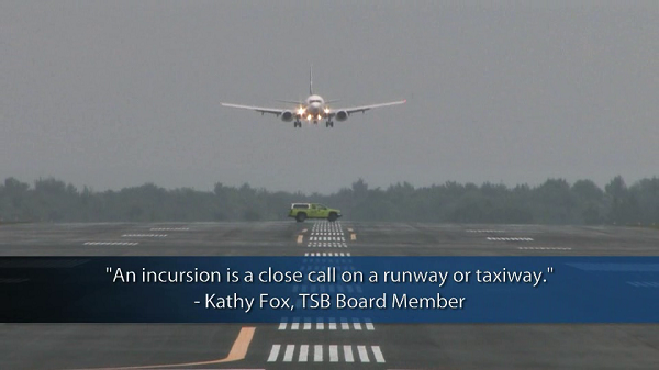 Still of an aircraft landing, from the risk of collisions on runways video