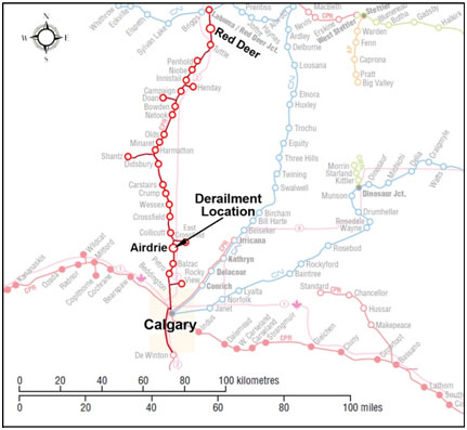 Figure 1. Map of accident site (Source: Canadian Railway Atlas)