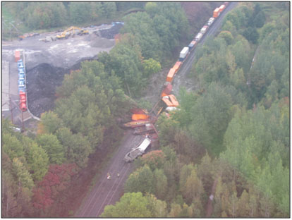 Photo 3. Aerial view of the derailment zone and the storage scrap pile